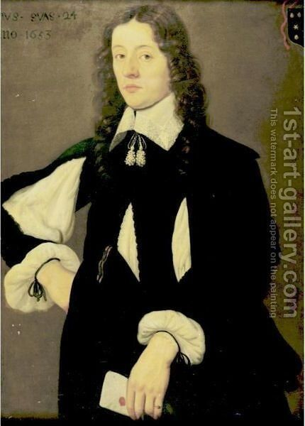 Portrait Of A Gentleman, Aged 24 by Dutch School - Reproduction Oil Painting