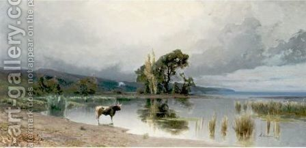 View Of A Pond Before The Storm by Achille Vertunni - Reproduction Oil Painting