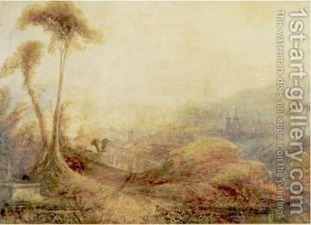 Landscape With Castles And Aquaeducts by (after) Joseph Mallord William Turner - Reproduction Oil Painting