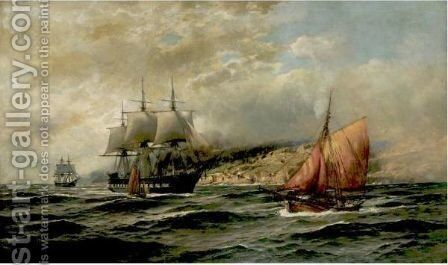 Ships Off The Norwegian Coast by Themistocles Von Eckenbrecher - Reproduction Oil Painting