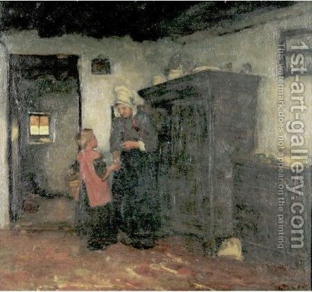 Peasant Interior by Albert Neuhuys - Reproduction Oil Painting