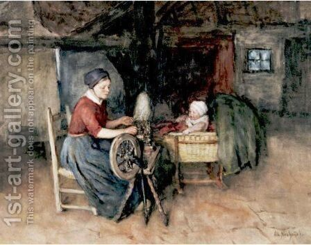 Young Mother And Child by Albert Neuhuys - Reproduction Oil Painting