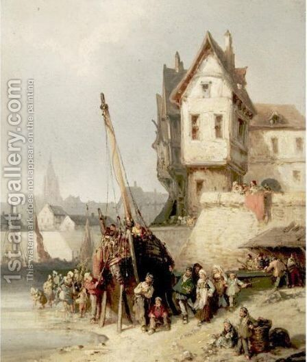 View Of A Port Town by Dutch School - Reproduction Oil Painting