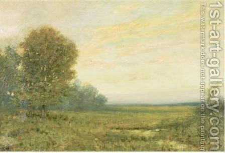 Marsh Scene At Sunset by Arthur Hoeber - Reproduction Oil Painting