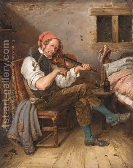 Der Geigenspieler (The Lone Fiddler) by Eduard Karl Gustav Lebrecht Pistorius - Reproduction Oil Painting