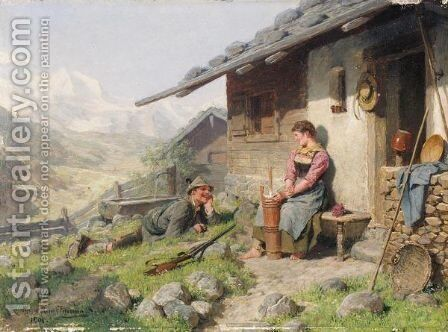 Vor Der Almhutte (Outside The Mountain Hut) by Hugo Kauffmann - Reproduction Oil Painting