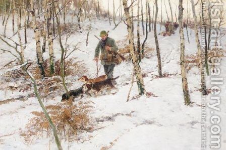 Jager Im Wald (Huntsman In A Wood) by Hugo Muhlig - Reproduction Oil Painting