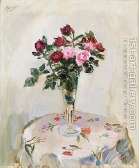 Still Leben Mit Rosen (Still Life With Roses) by Max Slevogt - Reproduction Oil Painting