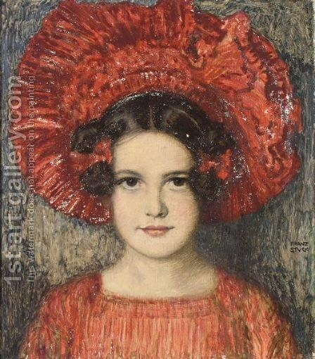 Portrait Of The Artist's Daughter Mary by Franz von Stuck - Reproduction Oil Painting
