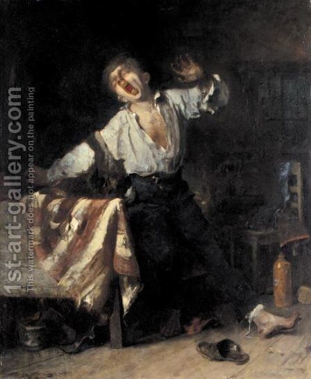 The Lazy Apprentice by Mihaly Munkacsy - Reproduction Oil Painting