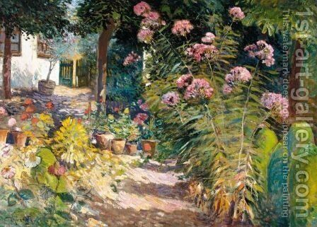 The Garden Path by Ignac Ujvary - Reproduction Oil Painting