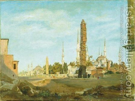 The Brazen Column And Egyptian Obelisk, The Blue Mosque And Haghia Sophia Beyond by Harold Jerichau - Reproduction Oil Painting