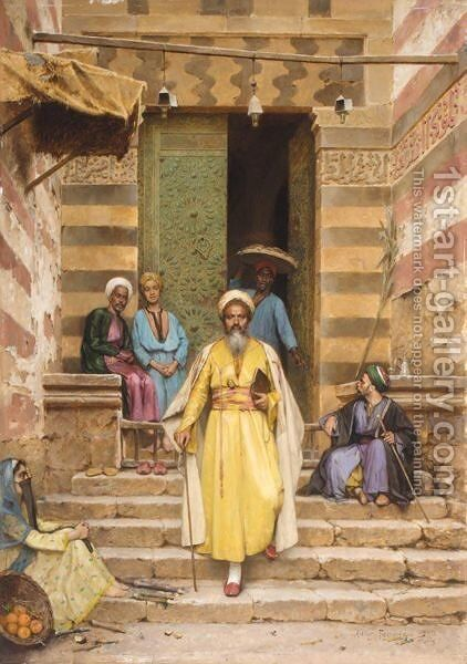 At The Door Of The Mosque by Arthur von Ferraris - Reproduction Oil Painting