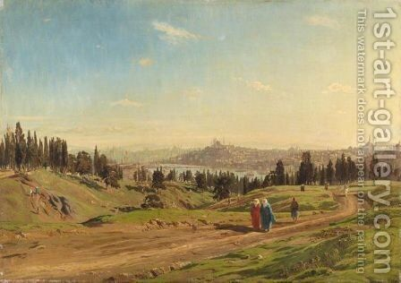 View Over Constantinople by (after) Harold Jerichau - Reproduction Oil Painting