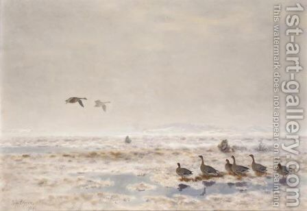Flyttfaglar (Migrating Wild Geese) by Bruno Andreas Liljefors - Reproduction Oil Painting