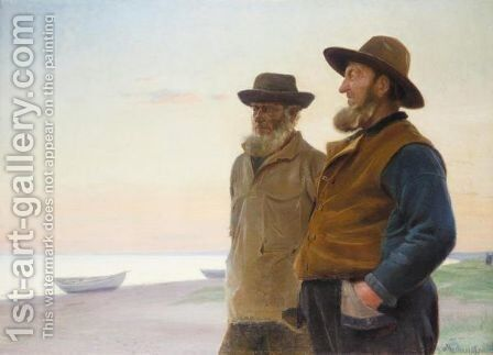Pa Stranden, Skagen (On Skagen Beach) by Michael Peter Ancher - Reproduction Oil Painting