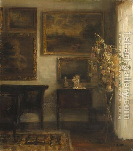 Vase Med Blomster (Interior With A Vase Of Flowers) by Carl Vilhelm Holsoe - Reproduction Oil Painting