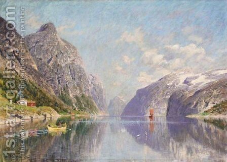 Roing Pa Fjorden (Rowing On A Fjord) by Adelsteen Normann - Reproduction Oil Painting