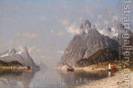 Fra En Norsk Fjord (Norwegian Fjord) by Adelsteen Normann - Reproduction Oil Painting