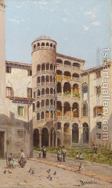 The Scala Boveri, Venice by Antonietta Brandeis - Reproduction Oil Painting