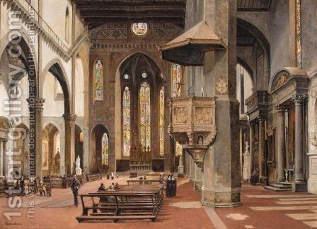 The Interior Of Santa Croce, Florence by Antonietta Brandeis - Reproduction Oil Painting