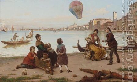 The Hot Air Balloon by Antonio Paoletti - Reproduction Oil Painting