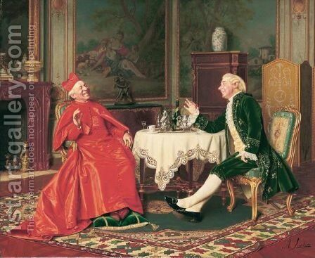 The Cardinal's Visit by Andrea Landini - Reproduction Oil Painting