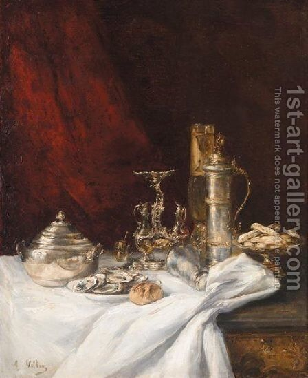 Nature Morte Aux Huitres by Antoine Vollon - Reproduction Oil Painting