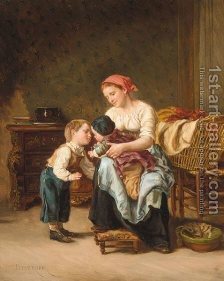 L'Amour Fraternel by Theophile Emmanuel Duverger - Reproduction Oil Painting