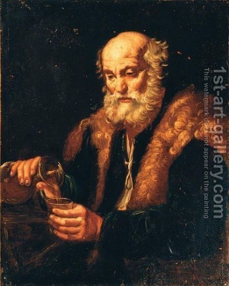 Vecchio Bevitore (Allegoria Del Gusto) by (after) Bernardo Keilhau - Reproduction Oil Painting