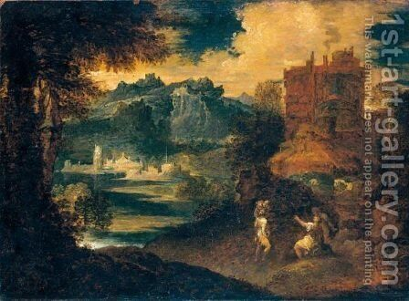 Paesaggio Con Figure by (after) Tiziano Vecellio (Titian) - Reproduction Oil Painting