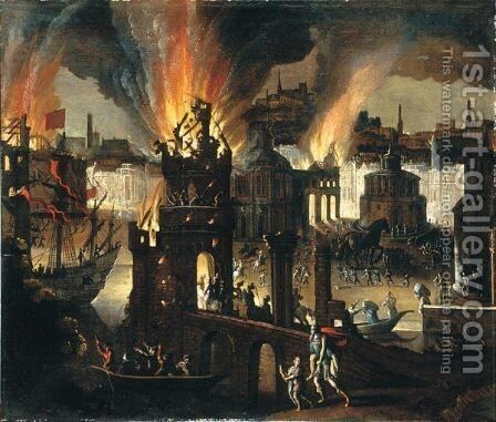 Ulisse Porta In Salvo Il Padre Anchise Ed Il Figlio Telemaco Da Troia In Fiamme by (after) Didier Barra (Desiderio Monsu) - Reproduction Oil Painting