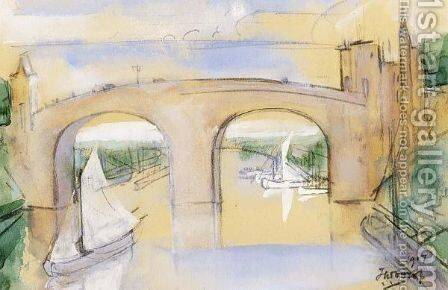 Sailing Boats Passing Under A Bridge by Jan Toorop - Reproduction Oil Painting