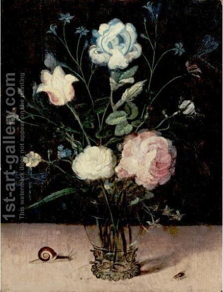 Still Life Of Flowers In A Glass Vase by (after) Jan The Elder Brueghel - Reproduction Oil Painting