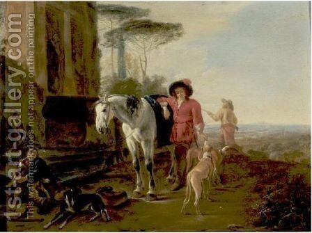 Hunters Resting In A Landscape With A Grey Horse And Hounds by Dirck Willemsz. Stoop - Reproduction Oil Painting
