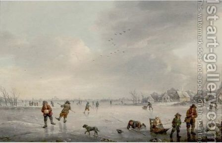 Skaters On A Frozen River by Marten J. Waefelaers - Reproduction Oil Painting