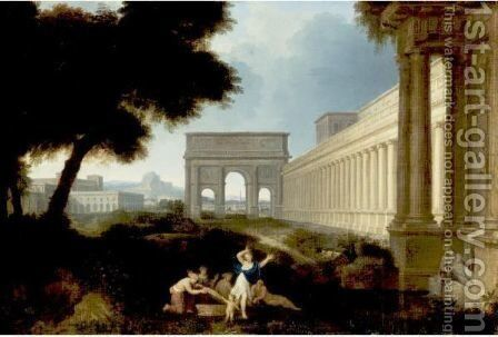 Classical Figures In An Architectural Landscape by Jean Lemaire - Reproduction Oil Painting