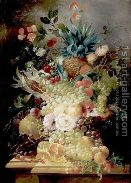 Still Life Of Various Fruits And Flowers On A Ledge Including A Pineapple And An Ear Of Corn by Jan Evert Morel - Reproduction Oil Painting
