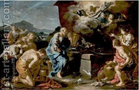 The Sacrifice Of Noah by Giovanni Battista Rossi - Reproduction Oil Painting