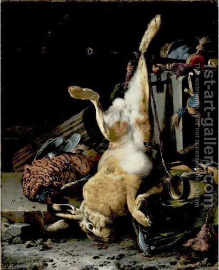 A Game Still Life With A Hung Hare, A Pheasant, A Horn, A Musket Barrel And Other Objects In A Classical Niche by Melchior de Hondecoeter - Reproduction Oil Painting
