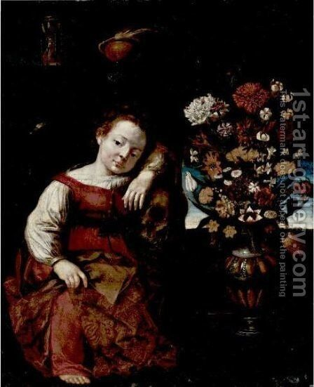 Vanitas Still Life With A Young Child Leaning On A Skull by Cremonese School - Reproduction Oil Painting