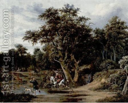 Landscape With Hunters by Haarlem School - Reproduction Oil Painting