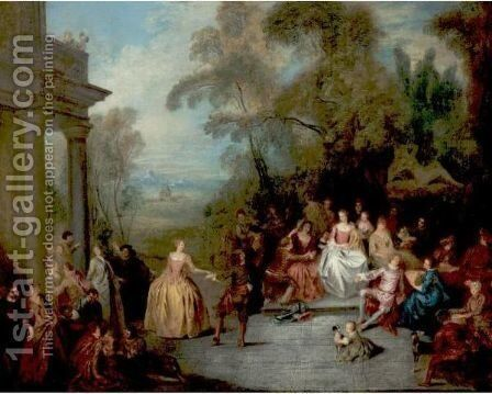 Fete Champetre by (after) Jean-Baptiste Joseph Pater - Reproduction Oil Painting