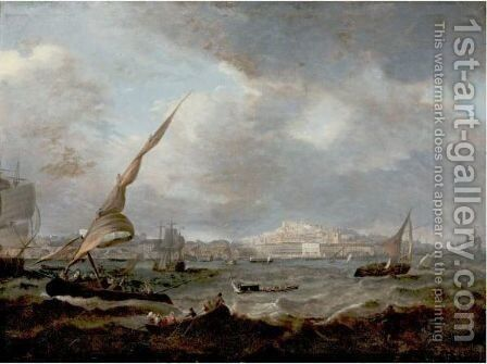 A View Of Lisbon by (after) Jean-Baptiste Pillement - Reproduction Oil Painting