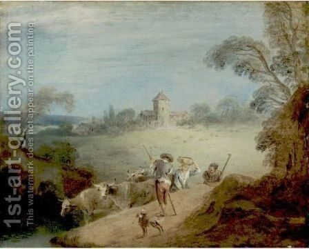 A Pastoral Landscape With A Shepherd And Sheperdess by Jean-Baptiste Joseph Pater - Reproduction Oil Painting