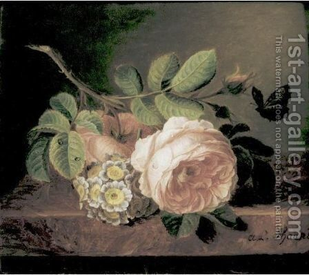 Bouquet Of Flowers With Roses On A Ledge by Amelie D'aubigny Nee D'autel - Reproduction Oil Painting