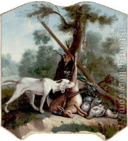 A Hunting Dog And Game In A Landscape by (after) Alexandre-Francois Desportes - Reproduction Oil Painting