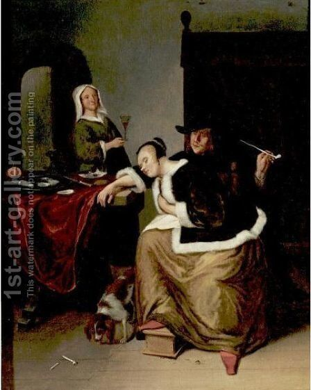 Woman Asleep At A Table by (after) Jan Steen - Reproduction Oil Painting