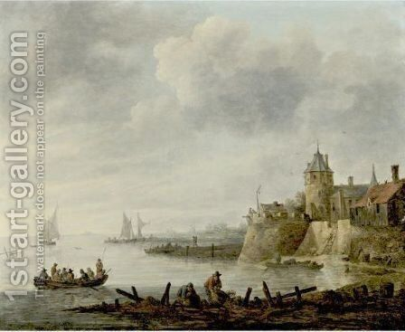 River Scene With A Fortified Shore by (after)  Jan Van Goyen - Reproduction Oil Painting