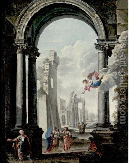 Architectural Capriccio With The Holy Family And Other Figures by (after) Viviano Codazzi - Reproduction Oil Painting